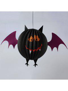 Halloween Party Bat Skeleton Paper Lantern Decoration - Black