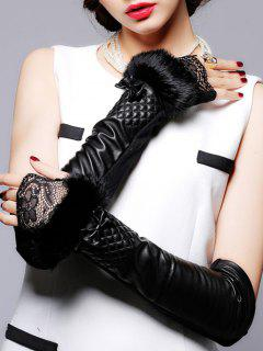 Faux Fur Lace Leather Arm Warmers - Black
