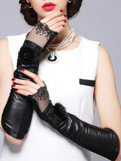 Faux Fur Sequins Lace Leather Arm Warmers - Black