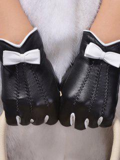 Bowknot Wave Cut Thicken Short Gloves - Black L