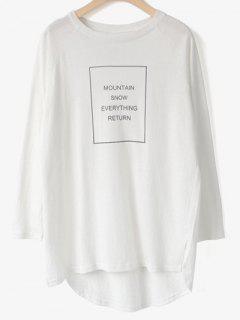 Alto Bajo Camiseta Estampada - Blanco