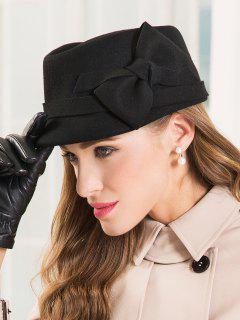 Knotted Bowknot Short Brim Felt Hat - Black