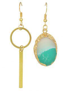 Faux Gem Bar Asymmetric Earrings - Golden