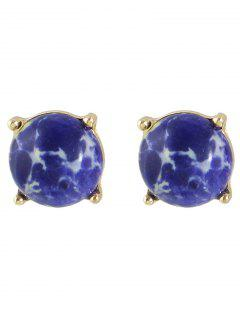 Faux Stone Stud Earrings - Golden