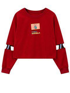 Print Patched Spliced Sleeve Graphic Sweatshirt - Red