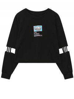 Print Patched Spliced Sleeve Graphic Sweatshirt - Black