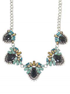 Faux Gem Fruit Necklace - Silver