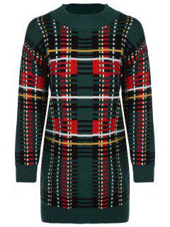 Color Block Jewel Neck Sweater Dress - Vert