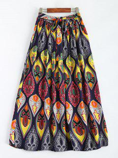 Retro Print Bowknot Maxi Skirt - Multicolor