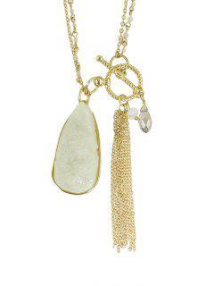 Tassel Faux Jade Lariat Necklace - Golden