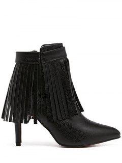 Fringe Pointed Toe Zipper Ankle Boots - Black 37