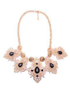 Rhinestone Faux Gem Engraved Floral Necklace - Black