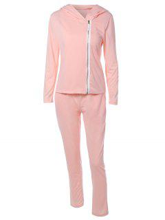 Zip Flying Hooded Sports Suit - Shallow Pink S