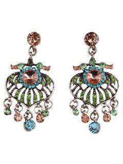Circle Heart Rhinestone Earrings - Champagne