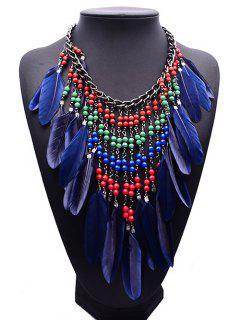 Alloy Bohemian Tassel Beaded Feather Necklace - Deep Blue