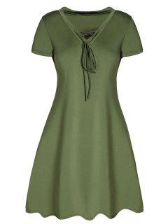 Lace-Up A-Line Dress - Army Green S