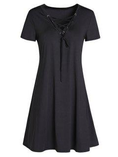 Lace-Up A-Line Dress - Black M