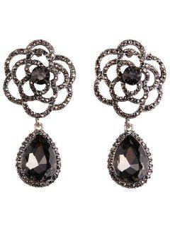 Faux Gem Water Drop Rose Earrings - Gray