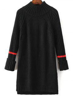 Side Furcal Sweater Dress - Noir
