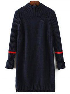 Side Furcal Sweater Dress - Cadetblue