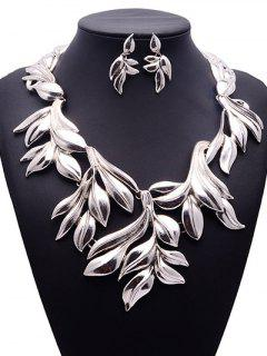 Vintage Tree Leaf Adorn Necklace And Earrings - Silver