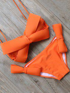 Bowknot Halter Bikini Set - Orange S