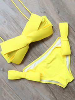 Bowknot Halter Bikini Set - Yellow L