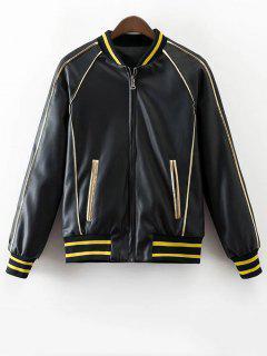 Back Butterfly Print PU Jacket - Black S