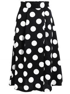 A Line High Waist Polka Dot Skirt - Black S