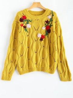Floral Bestickte Ausschnitt Pullover Pullover - Gelb