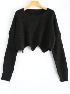 Round Neck Cropped Scalloped Sweater - Black