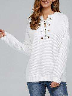 Ribbed Lace Up Sweatshirt - White M