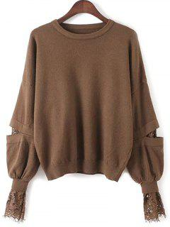 Lantern Sleeve Lace Spliced Sweater - Deep Brown