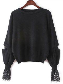Lantern Sleeve Lace Spliced Sweater - Black