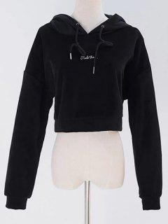 Letter Embroidered Velvet Cropped Hoodie - Black
