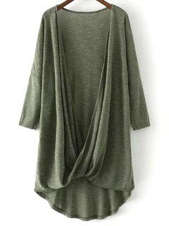 Low Cut  Surplice T-Shirt - Army Green L