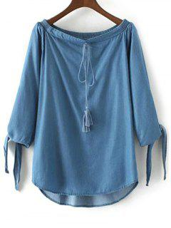 Off The Shoulder Chambray Top - Ice Blue L