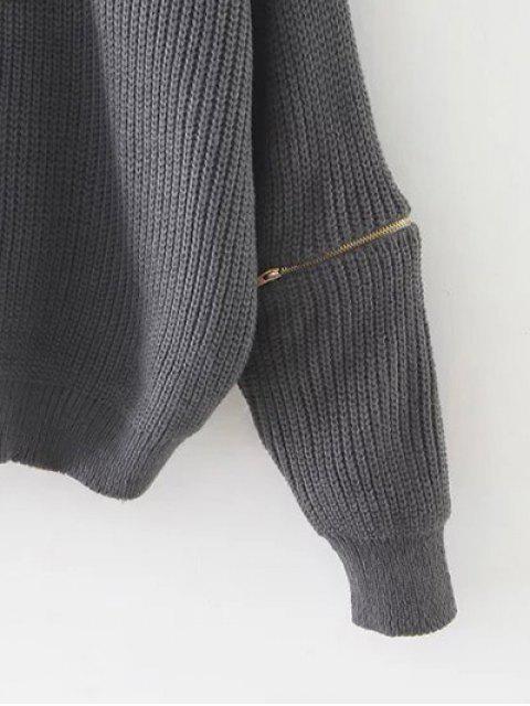 Pull  avec ras de cou à manches longues avec fermetures aux manches - Brun-rouge  Mobile