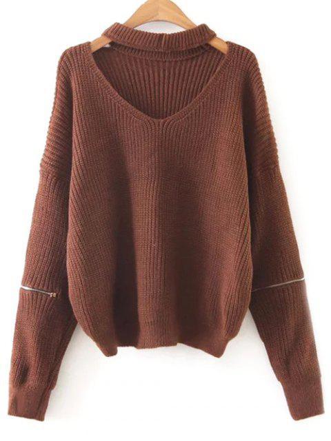 online Zipped Oversized Choker Neck Sweater - DARK AUBURN ONE SIZE Mobile