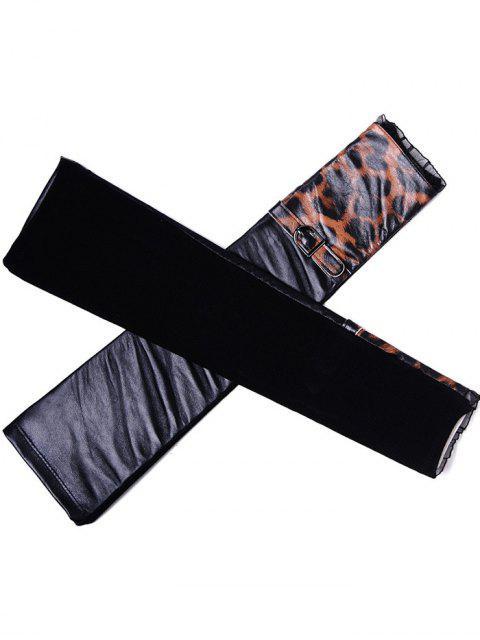 Ceinture Leopard Arm Warmers Motif en cuir - Noir Taille Unique(S'adap Mobile