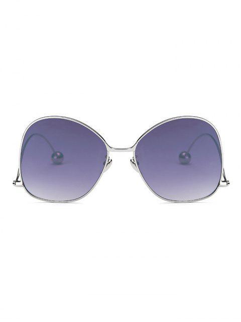 womens Small Ball Wave Leg Irregular Sunglasses - SILVER  Mobile