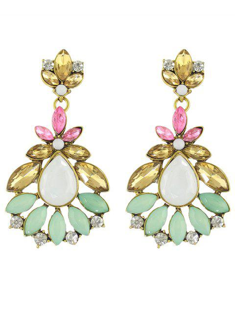 affordable Rhinestone Leaf Flower Earrings - COLORMIX  Mobile