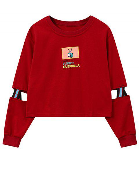 fashion Print Patched Spliced Sleeve Graphic Sweatshirt - RED ONE SIZE Mobile