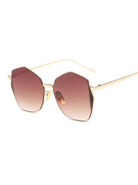 fashion Triangle Embellished Irregular Sunglasses - TEA-COLORED  Mobile