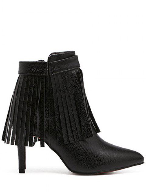 hot Fringe Pointed Toe Zipper Ankle Boots - BLACK 37 Mobile