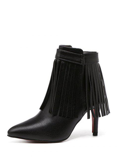 outfit Fringe Pointed Toe Zipper Ankle Boots - BLACK 38 Mobile