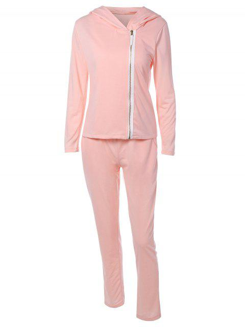 Zip Flying Kapuzen Sport Sweat Suit - Pink S Mobile