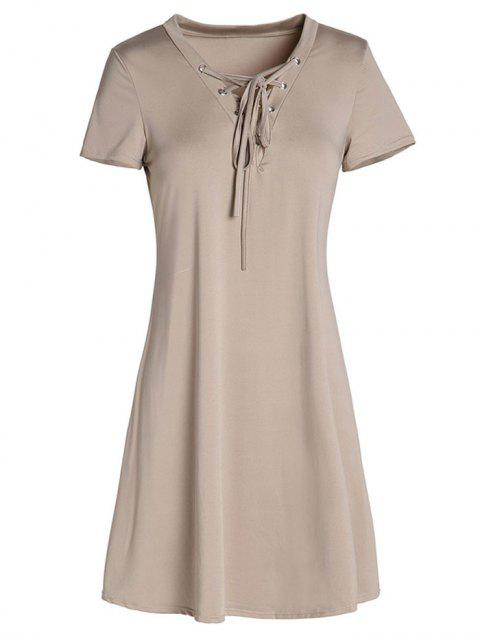 Lace-Up A-Line Kleid - Khaki L Mobile
