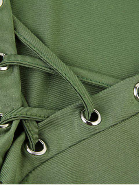 Robe A ligne à lacet haut à style vintage - Vert Armée L Mobile