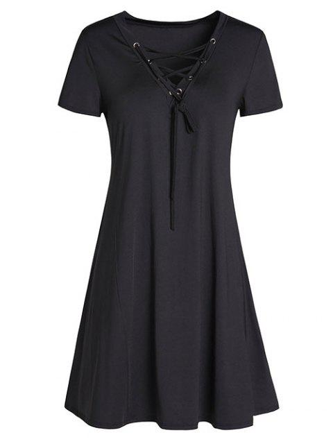 unique Lace-Up A-Line Dress - BLACK M Mobile